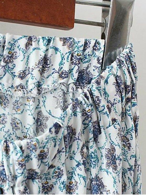 Patterned High Low Maxi Boho Skirt - WHITE M Mobile