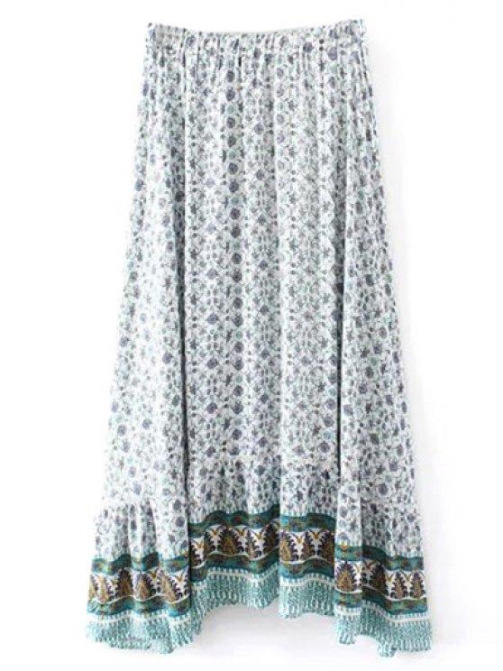 Patterned High Low Maxi Boho Skirt - WHITE S Mobile