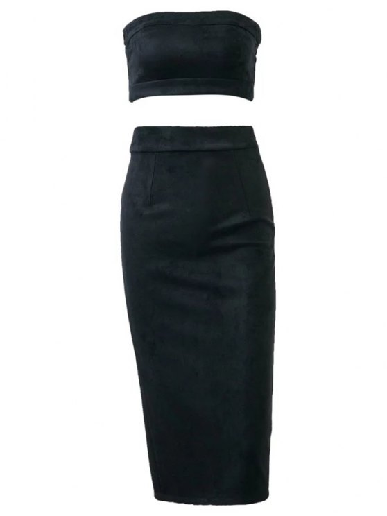 Suede Bodycon Skirt with Tube Top - BLACK S Mobile