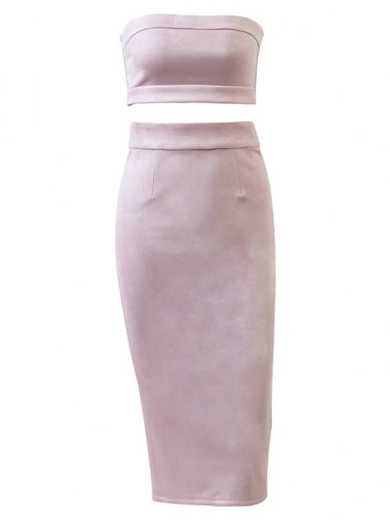 best Suede Bodycon Skirt with Tube Top - PINK L