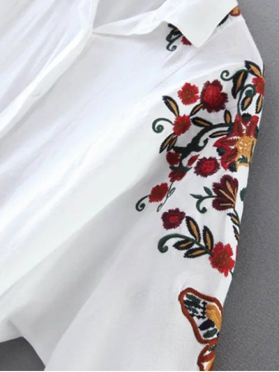 Cropped Flower Embroidered Shirt - BLACK M Mobile