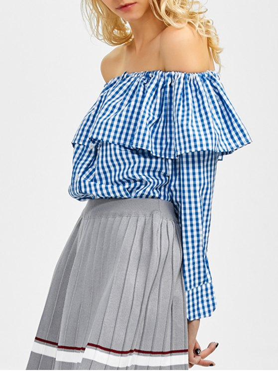 women Gingham Check Off The Shoulder Blouse - BLUE M