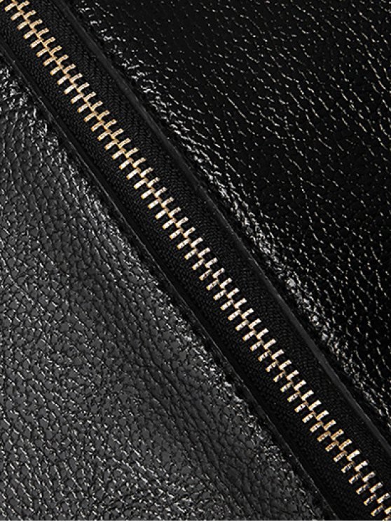 Wing Pattern Textured Leather Stitching Tote Bag - BLACK  Mobile