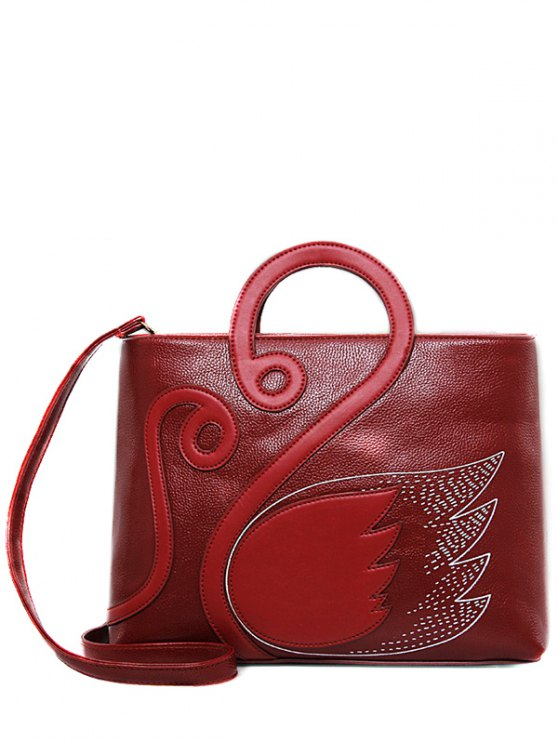 Wing Pattern Textured Leather Stitching Tote Bag - DEEP RED  Mobile