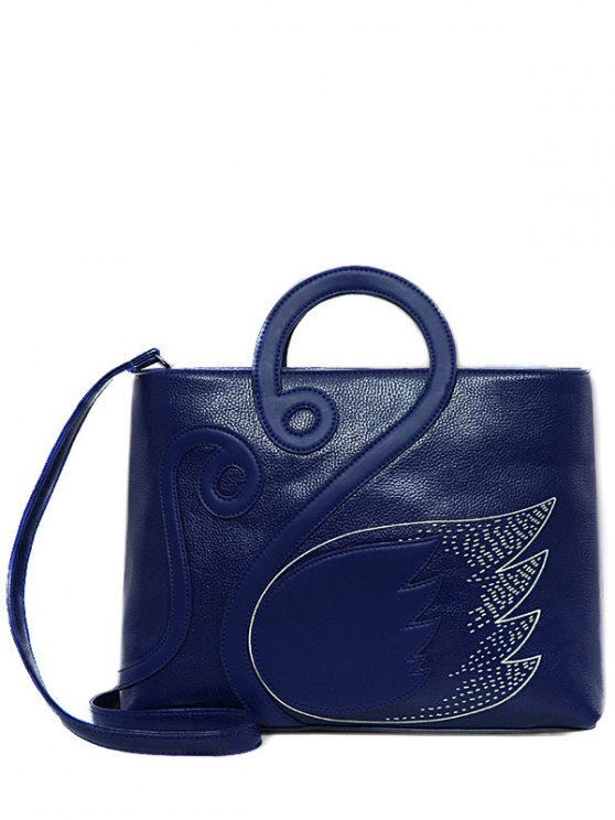 ladies Wing Pattern Textured Leather Stitching Tote Bag - BLUE