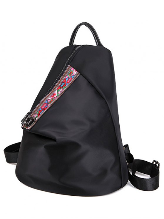 Embroidery Zipper Nylon Backpack - BLACK  Mobile
