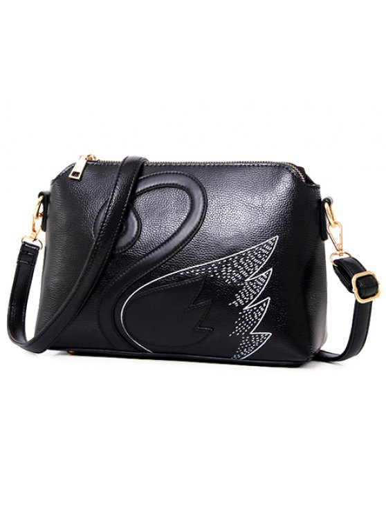 Textured Leather Stitching Wing Pattern Crossbody Bag - BLACK  Mobile
