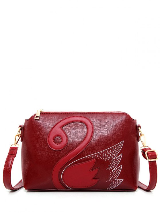 Textured Leather Stitching Wing Pattern Crossbody Bag -   Mobile