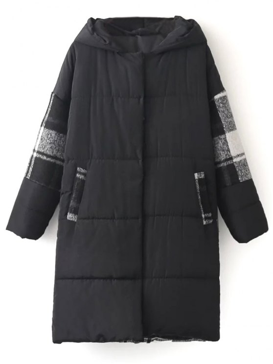 Hooded Padded Winter Coat - BLACK ONE SIZE Mobile