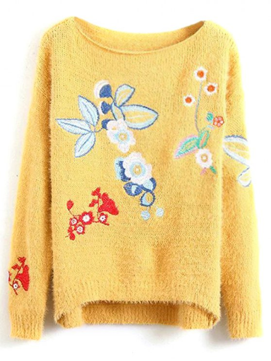Floral Embroidered Fluffy Sweater - YELLOW ONE SIZE Mobile
