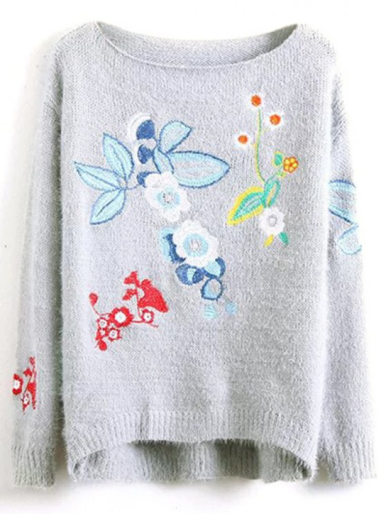 Floral Embroidered Fluffy Sweater - GRAY ONE SIZE Mobile