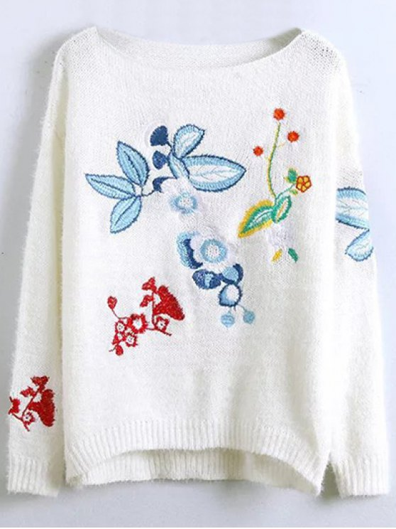 Floral Embroidered Fluffy Sweater - WHITE ONE SIZE Mobile