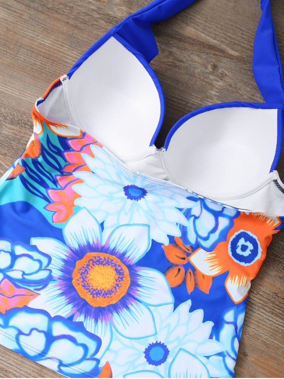 Ethnic Floral Underwire Tankini Swimsuit - BLUE S Mobile