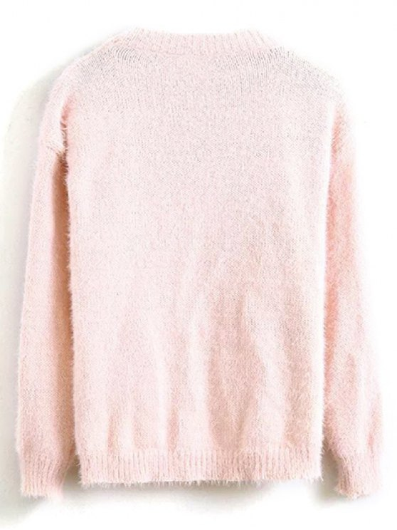 Floral Applique Fluffy Sweater - PINK ONE SIZE Mobile