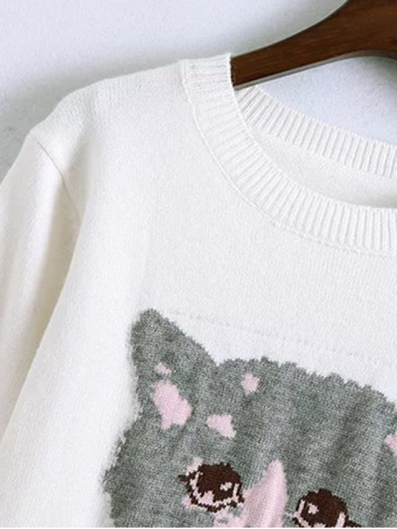 Kitten Jacquard Frilled Sweater - WHITE ONE SIZE Mobile
