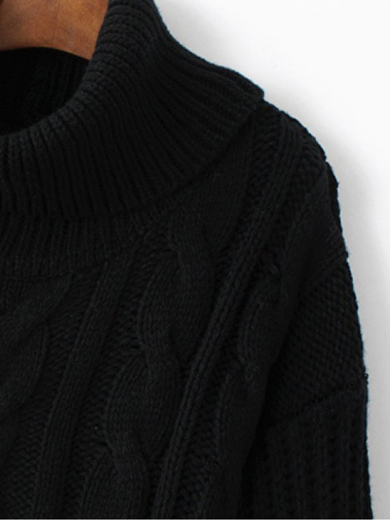 Cowl Neck High-Low Sweater - BLACK ONE SIZE Mobile