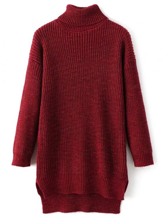 High Low Turtle Neck Heathered Jumper - RED ONE SIZE Mobile