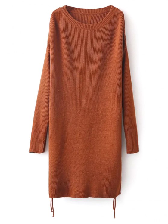 Longline Side Slit Sweater - BROWN ONE SIZE Mobile