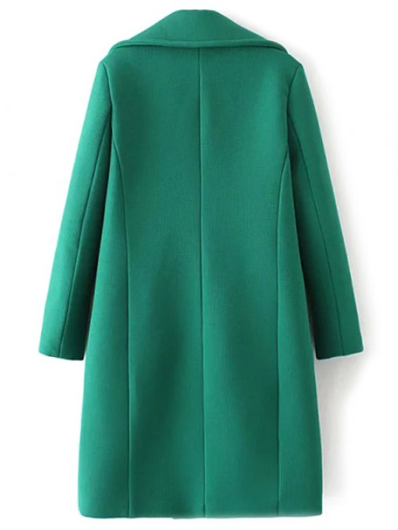 Textured Double Breasted Lapel Coat - GREEN S Mobile