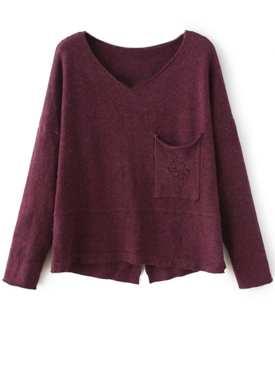 Slit V Neck Sweater - PURPLISH RED ONE SIZE Mobile