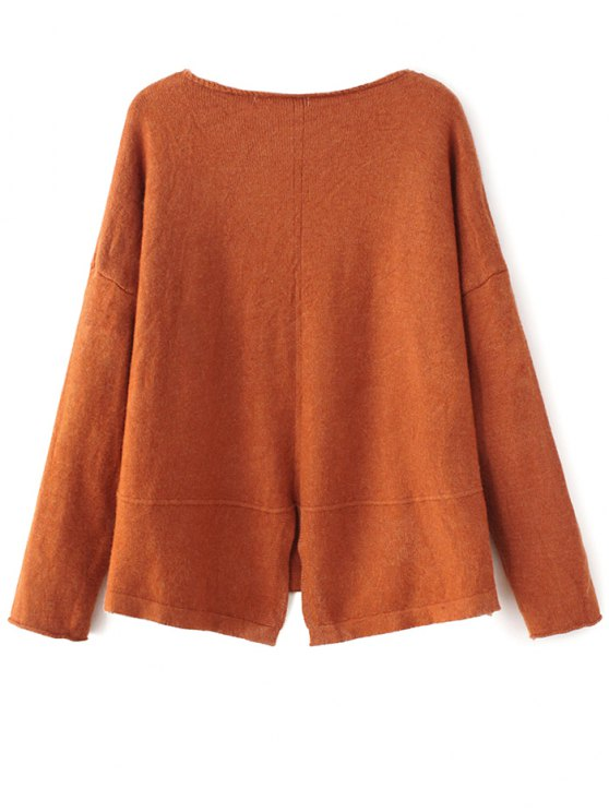 Slit V Neck Sweater - GINGER ONE SIZE Mobile