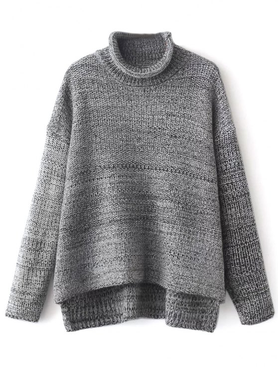 Funnel Neck Boxy Sweater - GRAY ONE SIZE Mobile