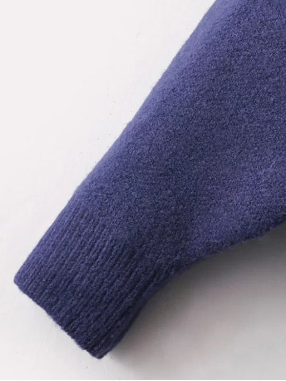 Patched Front Pocket Hooded Sweater - PURPLISH BLUE ONE SIZE Mobile
