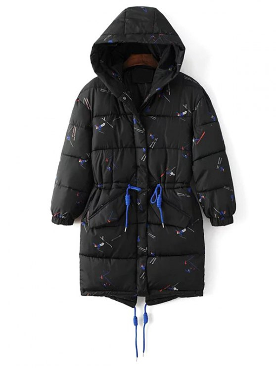 Drawstring Cartoon Print Padded Coat - BLACK L Mobile