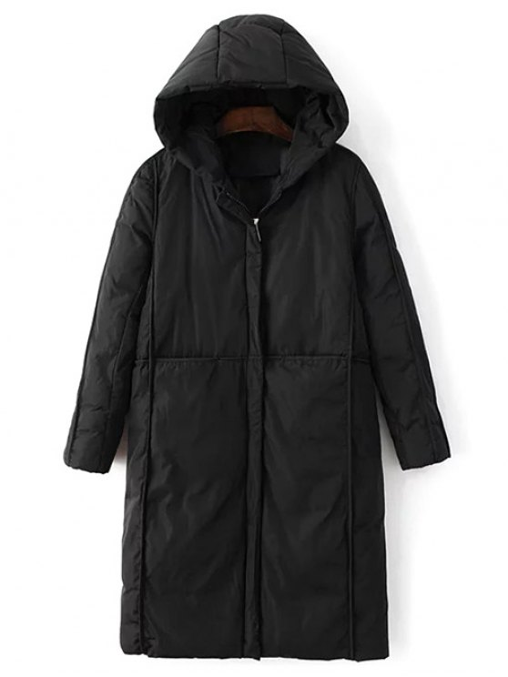 Hooded Puffer Coat with Pocket - BLACK L Mobile