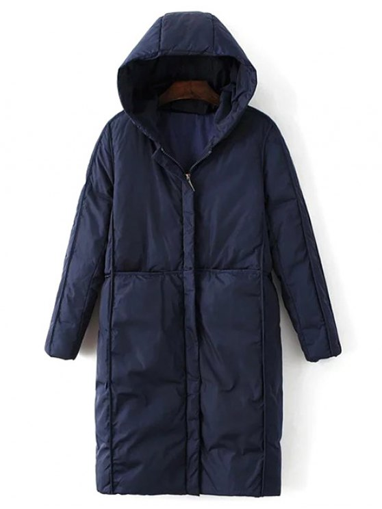 Hooded Puffer Coat with Pocket - PURPLISH BLUE L Mobile