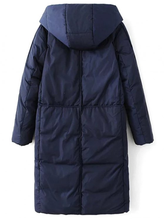 Hooded Puffer Coat with Pocket - PURPLISH BLUE XL Mobile