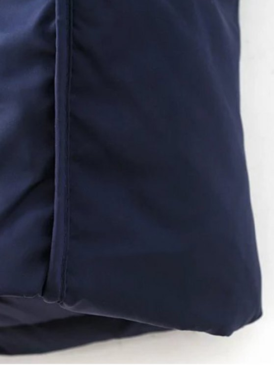 Hooded Puffer Coat with Pocket - PURPLISH BLUE M Mobile