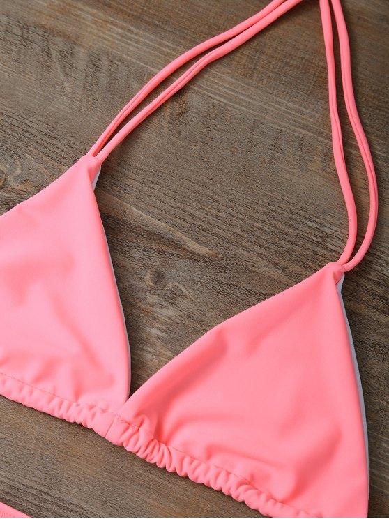 High Waist Cutout Bikini Set - PINK L Mobile