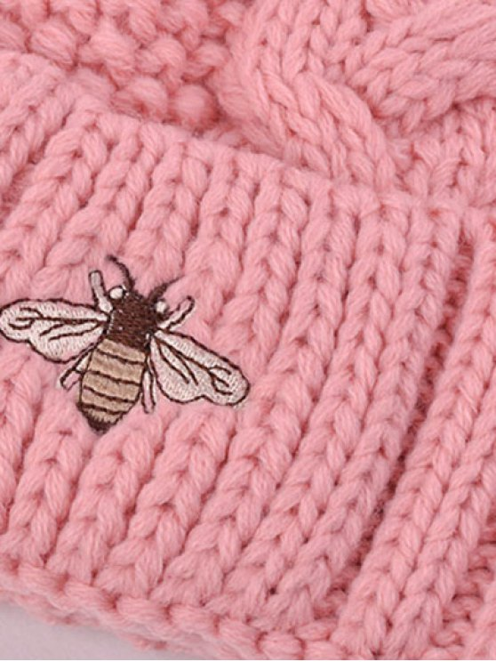 Pom Ball Flanging Bee Knitted Beanie -   Mobile