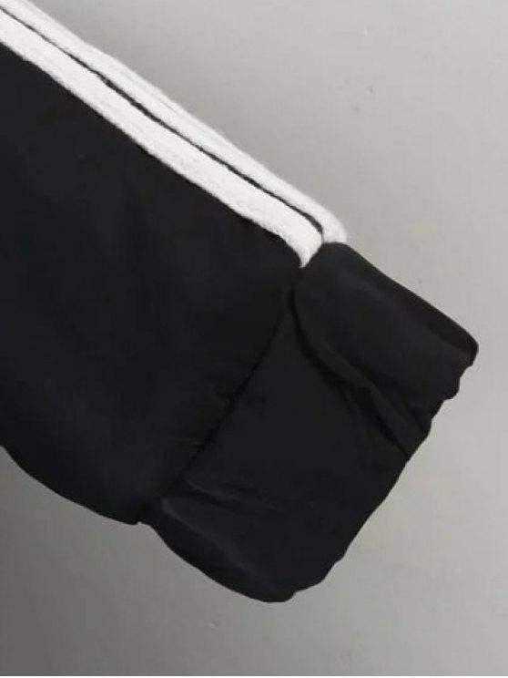 Drawstring Zip-Up Hooded Puffer Coat - BLACK S Mobile
