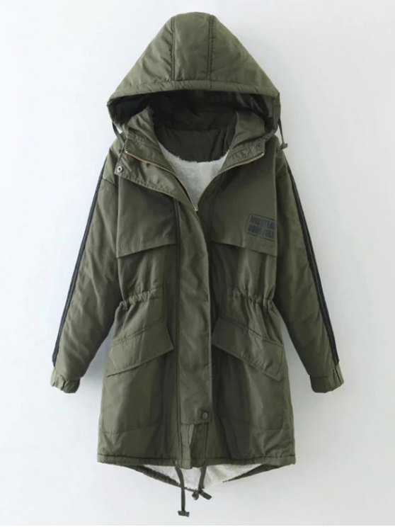 Drawstring Zip-Up Hooded Puffer Coat - GREEN L Mobile