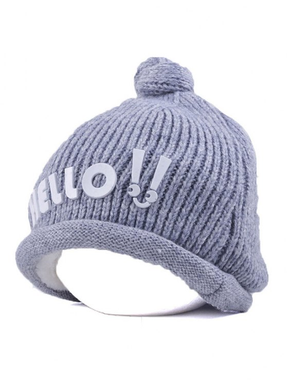 Hello Embellished Chunky Knitted Hat - GRAY  Mobile