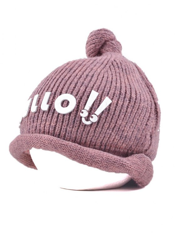 Hello Embellished Chunky Knitted Hat - PINK  Mobile
