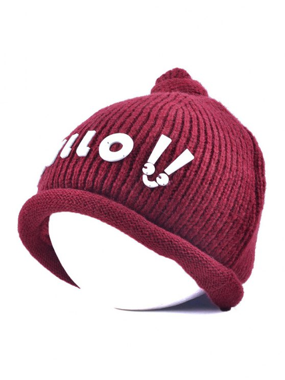Hello Embellished Chunky Knitted Hat - WINE RED  Mobile