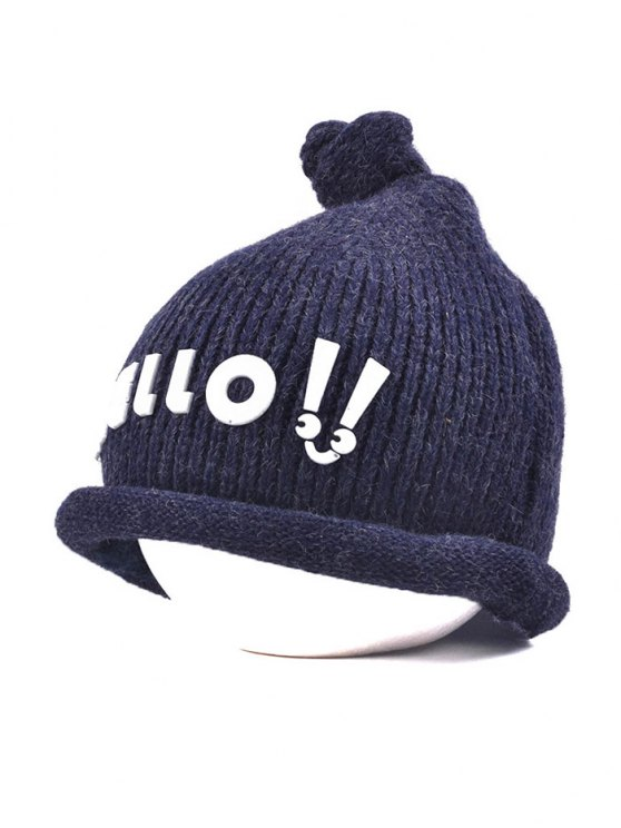 Hello Embellished Chunky Knitted Hat - CADETBLUE  Mobile