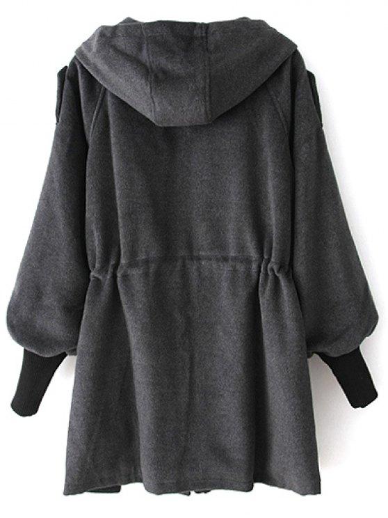 Hooded Wool Coat - DEEP GRAY M Mobile