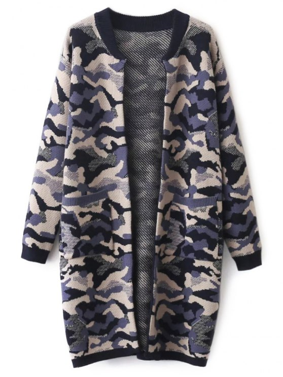 Camoflage Longline Cardigan - PURPLE ONE SIZE Mobile