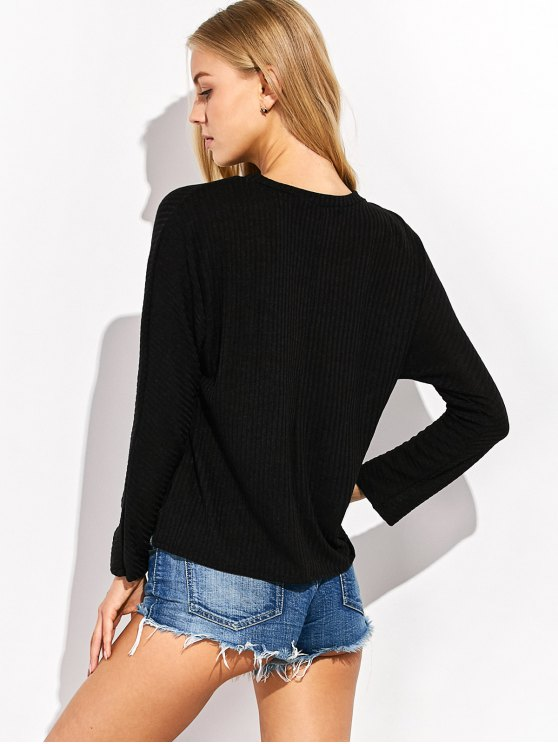High-Low Choker Sweater - BLACK ONE SIZE Mobile