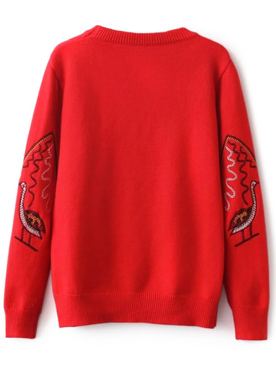 Crew Neck Embroidered Sweater - RED ONE SIZE Mobile