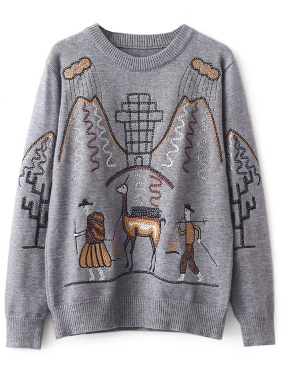 Crew Neck Embroidered Sweater - GRAY ONE SIZE Mobile