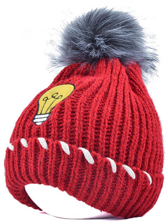 Pom Ball Flanging Knitted Hat - BRIGHT RED  Mobile