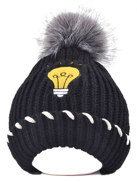 Pom Ball Flanging Knitted Hat -   Mobile