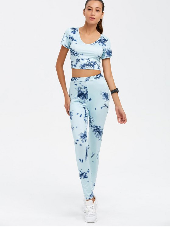 Crop Top and Print Pants Twinset - CLOUDY XL Mobile