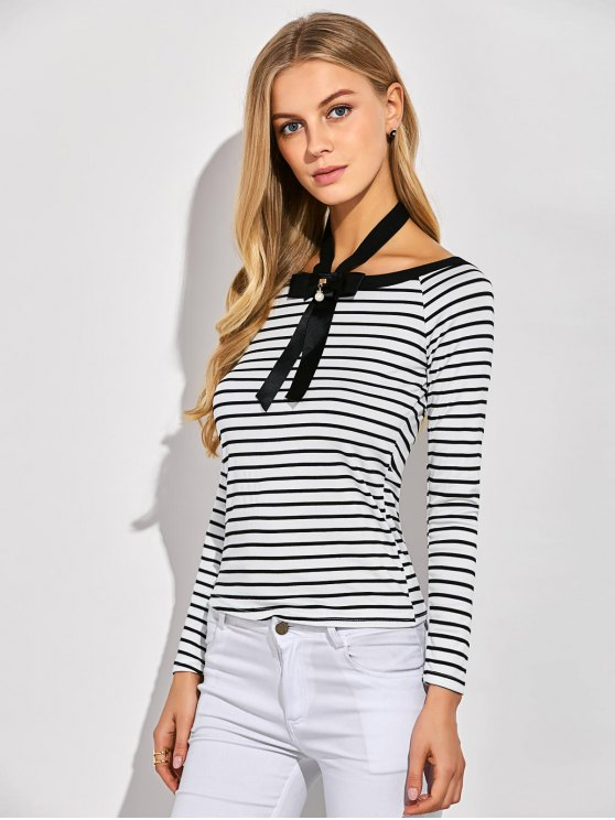 Striped Bowknot T-Shirt - WHITE XL Mobile
