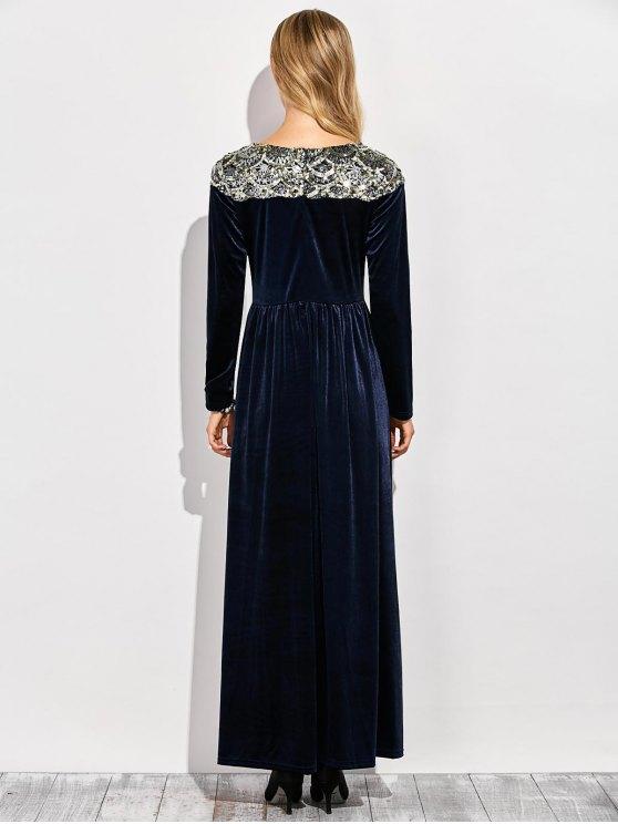 Sequined Velvet Long Swing Dress With Sleeves - BLUE XL Mobile